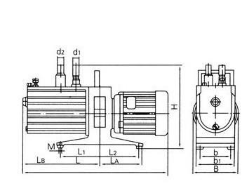 2xz型旋片式真空泵安装尺寸图,使用说明,故障及原因排除方法