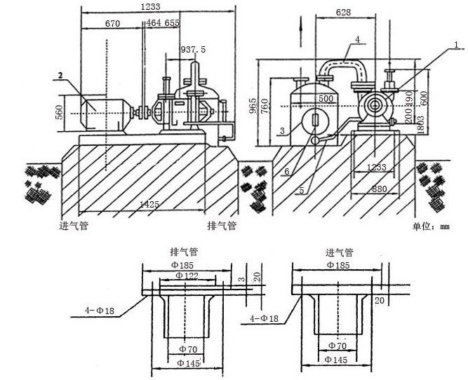sz型水环式真空泵安装尺寸图