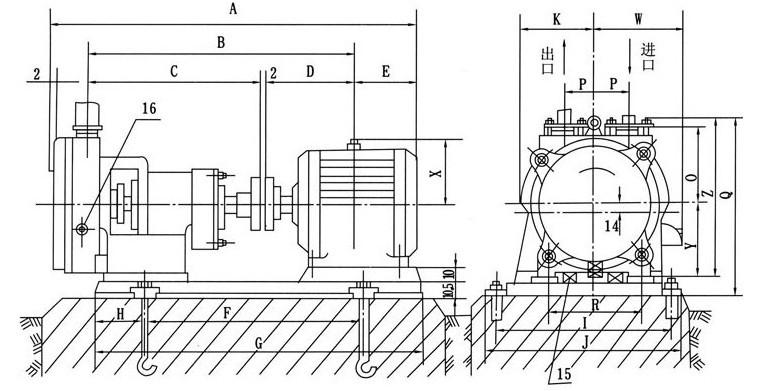 szb型水环式真空泵安装尺寸图